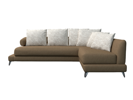 single seat: 3D rendering of a modern sofa, isolated on a white background