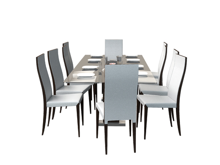 3D rendering dining room furniture, isolated on white background