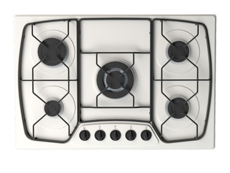 Representación 3D de una cocina de gas, aislada en el fondo blanco Foto de archivo