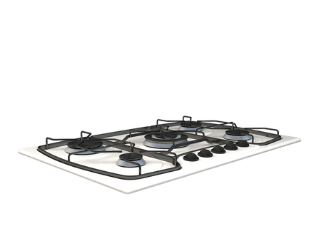 stove top: 3D rendering of a gas stove, isolated on white background Stock Photo