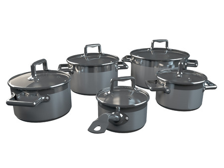 steam cooker: 3D rendering pans, isolated on white background