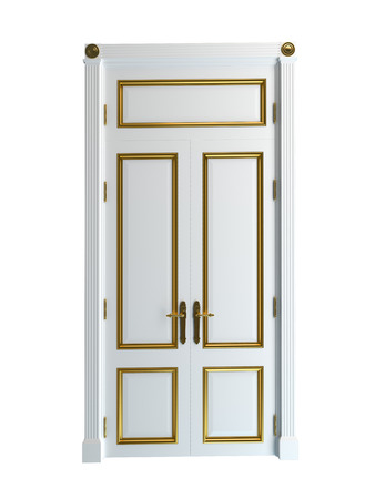 white door: 3D rendering of a classic door, isolated on white background