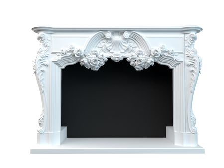 moulding: 3D rendering of a classic fireplace, isolated on white background