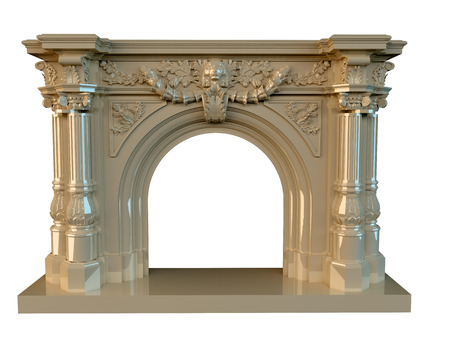 3D rendering of a classic fireplace, isolated on white background