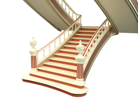 3D rendering Stairs, isolated on white background
