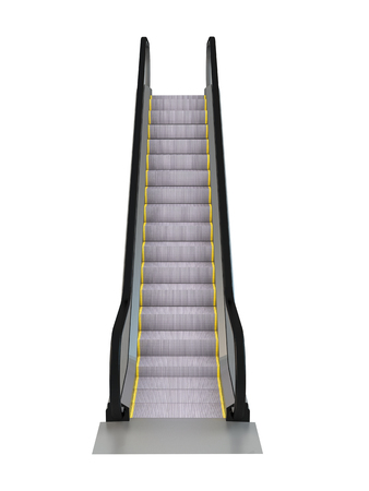elevated: 3D rendering escalator, isolated on white background
