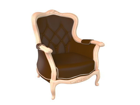 armchair: 3D rendering armchair, isolated on white background