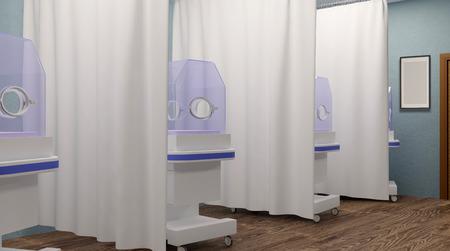 premature: A newborn baby in hospital. 3D rendering