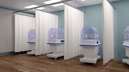 premature: Incubator in hospital. 3D rendering Stock Photo