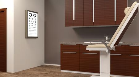 Routine eye exams. 3D rendering