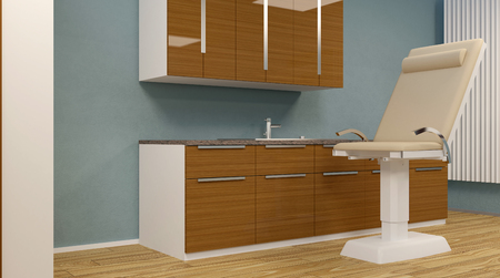 Cabinet ophthalmologist at school. 3D rendering