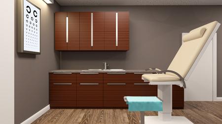 病院の診察室。3 D レンダリング
