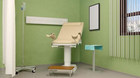 Prenatal room. Hospital. 3D rendering