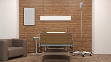 Sala de hospital. Habitación interior en el hospital. Representación 3D Foto de archivo - 76795979