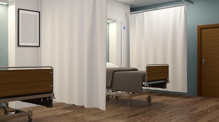 Sala de hospital. Habitación interior en el hospital. Representación 3D Foto de archivo - 76795993