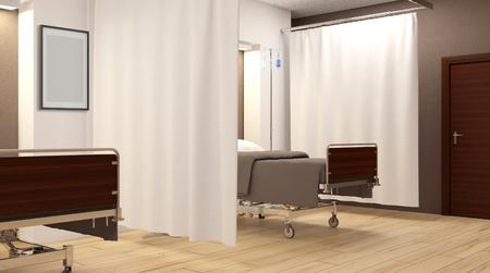 Sala de hospital. Habitación interior en el hospital. Representación 3D Foto de archivo - 76796003