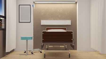 Sala de hospital. Habitación interior en el hospital. Representación 3D Foto de archivo - 76796002