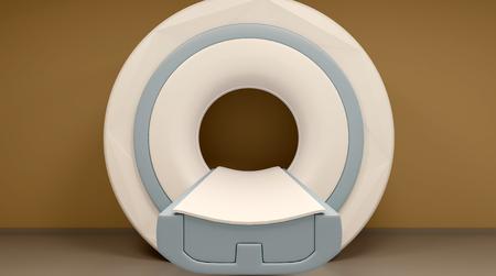 MRI machine and screens. 3D rendering