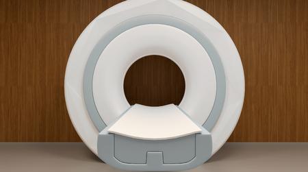 ct scan: MRI machine and screens. 3D rendering