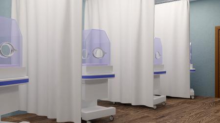 jaundice: A newborn baby in hospital. 3D rendering