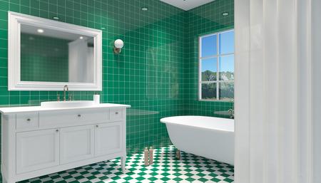 bathroom mirror: Small, modern bathroom interior. 3D rendering