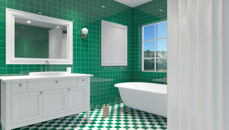 luxury house: Small, modern bathroom interior. 3D rendering