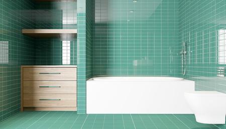 bathroom mirror: Modern interior of a bathroom in a city apartment. 3D Render