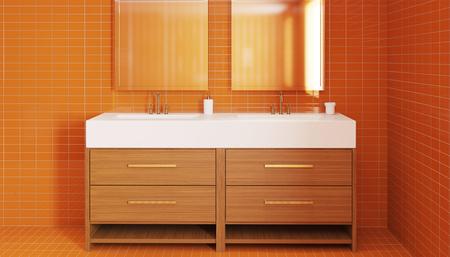 rende: The minimalistic design of the bathroom. 3D Rende Stock Photo