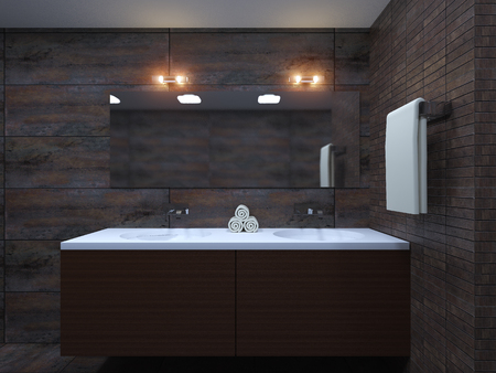 luxury house: 3D-rendering modern bathroom in a big house Stock Photo