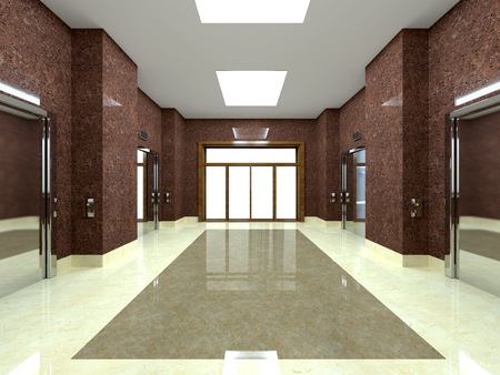 shiny floor: 3d rendering of a lobby with lift in an office building