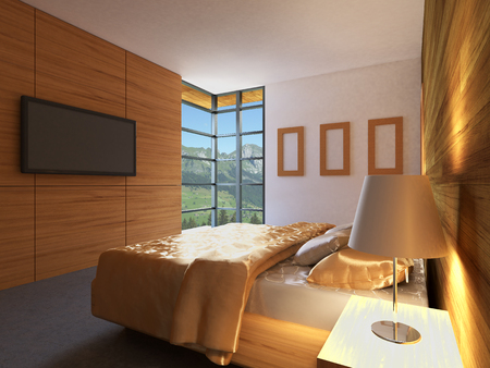 luxury living room: Bedroom house in the forest. 3d interior rendering.