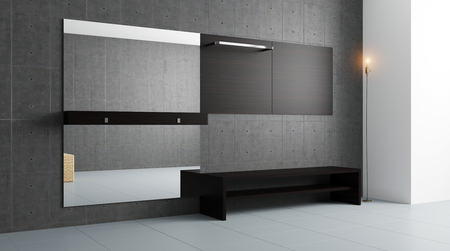 flooring: The Modern hallway with furniture. 3D rendering Stock Photo