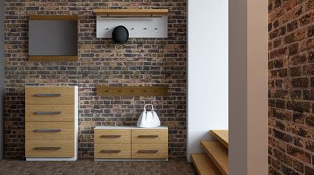flooring: Modern hallway with furniture. 3D rendering