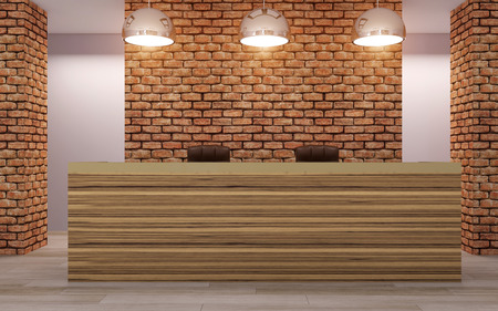 The reception of the hotel. Receptionist. 3D rendering
