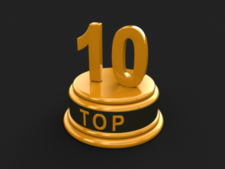 Top 10. Realistic gold percent isolated (3d render)