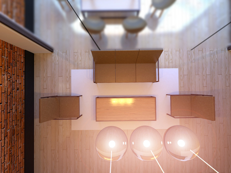 no movement: Top view. 3D rendering of office space in the shopping center