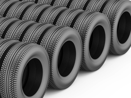 3d rendering of car rubber tire black Stock Photo
