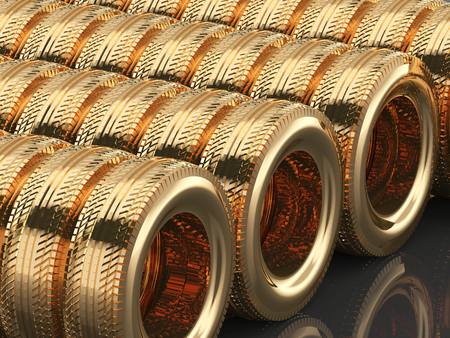 3d rendering of car rubber tire gold