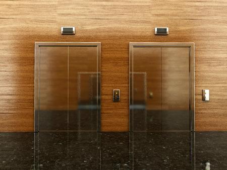 事務所ビルのエレベーターがあるロビーの 3 d レンダリング