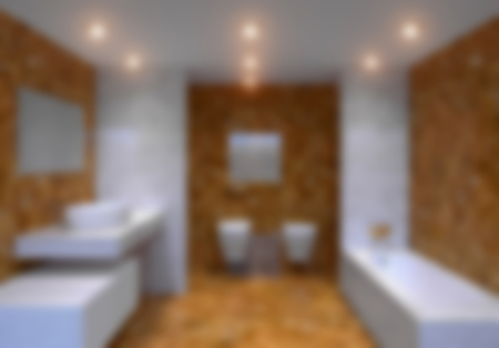 3D-rendering blurred modern bathroom in a big house