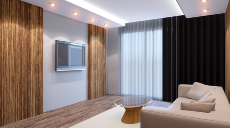 cozy corner in a residential home. Interior living room. 3d render Stock Photo