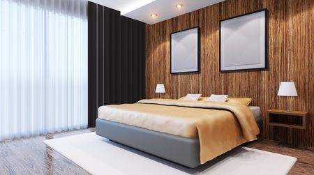 apartment suite: Bridal Suite. Bedroom. 3d interior rendering.