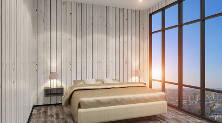 bed sheet: The modern design of the bedrooms. 3d rendering