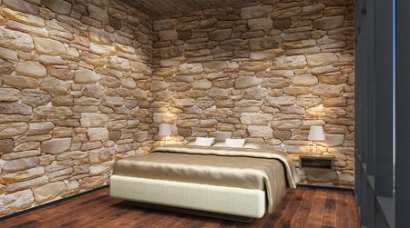 headboard: The Bridal Suite. Bedroom. 3d interior rendering. Stock Photo