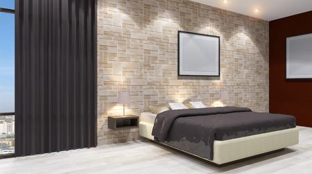 headboard: The modern design of the bedrooms. 3d rendering