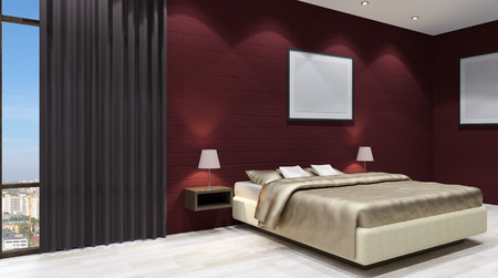 apartment suite: The modern design of the bedrooms. 3d rendering