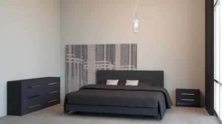 closet door: The modern design of the bedrooms. 3d rendering