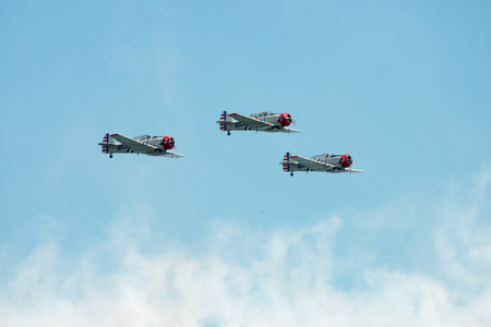 ATLANTIC CITY, NJ - AUGUST 17: Geicko Skytypers performing at the Annual Atlantic City Air Show on August 17, 2016
