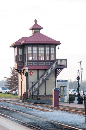 STRASBURG, PA - DECEMBER 15: Train Station Overlook Tower in Strasburg, Pennsylvania on December 15, 2012