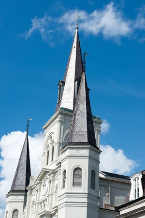 NEW ORLEANS, LA - APRIL 13: Beautiful architecture of Cathedral Basilica of Saint Louis in Jackson Square, New Orleans, LA on April 13, 2014